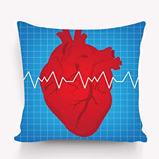 YILINGER Pillow Case Sofa Bed Pillow Case Cover 18 X 18 Inch Twin Sides Heartbeat Chart Human Shock Wave Drawing