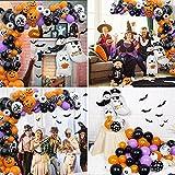 75 pcs Halloween Luftballons Girlande, Orange Schwarz Luftballons Kürbis Ballon Dekorationen, Schwarzer Fledermaus Konfettiballon Helium Balloon für Halloween party Dekoriert Tischdeko Geburtstagdeko - 8