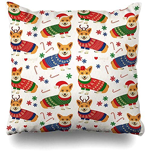 EU Feiertags-roter Hund-Weihnachtsmuster-Corgis-abstrakte Haustier-Süßigkeit lustiger Weihnachtsmann entzückendes Design-Weihnachts-Hauptdekor-Kissen-Fall werfen Kissenbezug