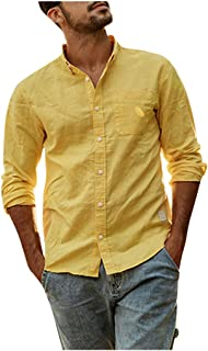 iYBUIA Men's Cotton Linen Shirts - Summer Solid Color Button Lapel Beach Thin Light Long Sleeve T-Shirt Blouses