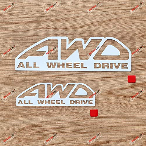 AWD All-Wheel Drive Car Decal Vinyl Sticker - 2 Pack White, 6 Inches, 8 Inches - No Background