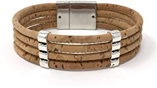 Doubled Links on Four Cords Natural Cork Aromatherapy Diffuser Bracelet with Magnetic Clasp by Simply Cork