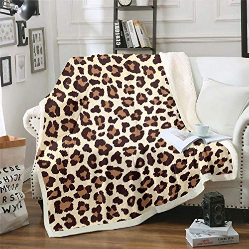 Coperta in pile leopardato con stampa di ghepardo, per bambini, ragazzi, donne, elegante, stile selvatico, peluche, design selvatico, per divano, letto, divano, bambino, 70 x 100 cm