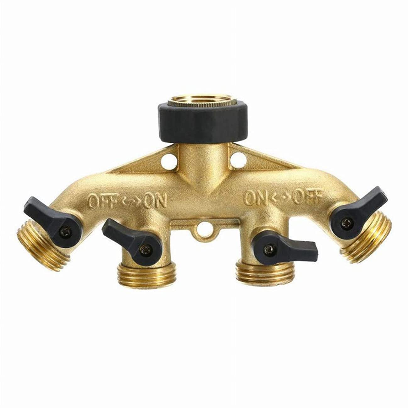 WPOtee Garden Hose Splitter | 4 Way Brass Tap Hose Connectors Water Distributor Highly Durable Water Manifold Connector (Gold) glrgc326316