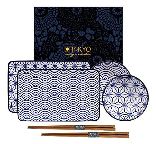 Tokyo Design Studio Insieme dei Piatti Nippon Blue Onda/Stella 6W/Chop 21x 13.5& 9.5x 3cm