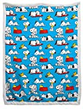 Jay Franco Peanuts Sherpa Back Blanket - Measures 60 x 90 inches, Kids Bedding Features Snoopy & Woodstock - Fade Resistant Super Soft (Official Peanuts Product)