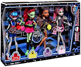 Monster High Ghouls Night Out 4 Doll Set Rochelle Goyle - Clawdeen Wolf - Ghoulia Yelps & Venus McFlytrap
