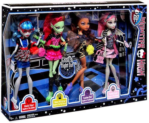 Monster High 4 Puppen Ghouls Night out - Rochelle Goyle, Clawdeen Wolfg, Venus mcFlytrag und Ghoulia Yelps