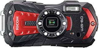 Pentax RICOH WG 60 Rot wasserdichte Kamera Hochauflösende Bilder mit 16MP Wasserdicht bis 14m Stoßfest bis Fallhöhe von 1,6m Unterwassermodus Ring mit 6 LEDs für Makroaufnahmen