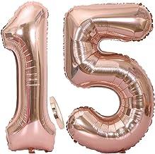 2 Globos Número 15 Oro Rosa, Ouceanwin Gigante Foil Globos Numeros 15 Grande Globo de Papel de Alumini, 40
