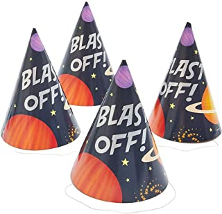 Blast Off Outer Space Birthday Party Hats (24 Pack)