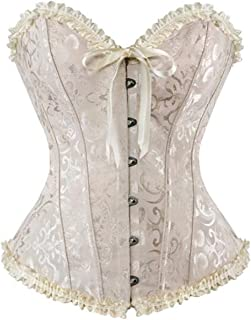 Womens Corset Plus Size Sexy Lingerie Floral Lace Up Boned Overbust Bustier Top