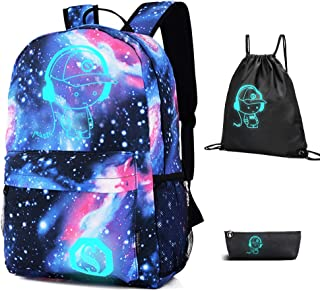 Galaxy Backpack with Drawstring Bag & Pencil Case for Boys/Girls, Cool Anime Backpack for Boy Lightweight Luminous Backpack 15.4 Inch Laptop Bag for Work, Casual Bag for Teens