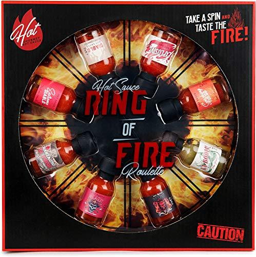 Modern Gourmet Foods - Hot Sauce Ring Of Fire Roulette Geschenkset - Spiel Mit 8 Scharfen Chili-Saucen Zum Probieren