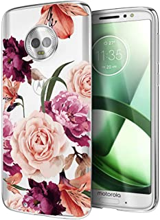 Moto G6 Case, Moto G (6th Generation) Case with Flowers, Ueokeird Slim Shockproof Clear Floral Pattern Soft Flexible TPU Back Phone Protective Cover for otorola Moto G6 5.7 Inch (Purple Flower)