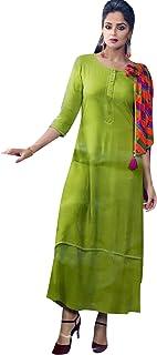 Women's Rayon Long Tunic Top Plain 3/4 Sleeves Stylish Scarf/Shawl in Cotton Button Neck Kurti Kurta