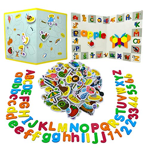 210Pcs Magnetic Letters Numbers, Picture Magnets and Shapes Maker for Kids 3 Years Up with...