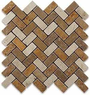 Mixed Travertine 1 X 2 Herringbone Mosaic Tile, Tumbled - 6