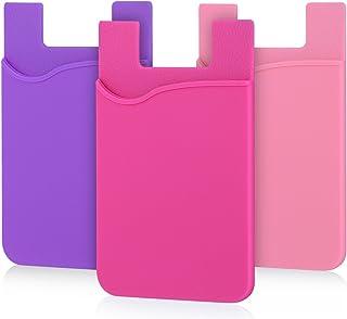 محفظة هاتف لاصقة ، حزمة من 3 قطع لاصقة على الهاتف الخليوي محفظة جيب بطاقة الائتمان متوافقة مع الهواتف الذكية ، iPhone 8 Pl...