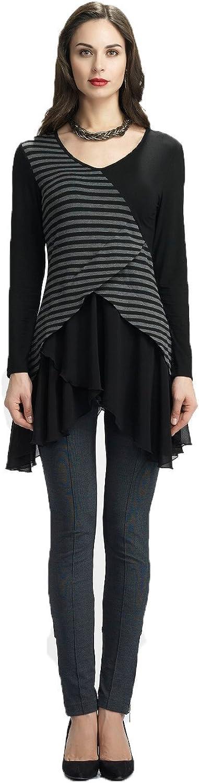 Dzhavael Couture Womans Black and Grey Asymmetric Tunic Mesh Hem (40306)