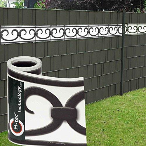 Design Sichtschutzstreifen PVC ✔ 19cm x 2,85m (HxL) ✔ Motiv Prag Deko ✔ weiß-anthrazit ✔ 3 Streifen ✔ - SIE KAUFEN Hier DIREKT BEIM Hersteller -