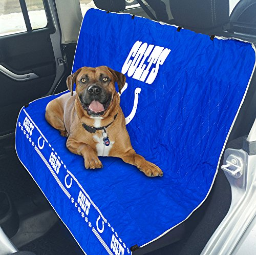 NFL CAR SEAT COVER - INDIANAPOLIS COLTS Waterproof, Non-slip BEST Football LICENSED PET SEAT cover for DOGS & CATS.