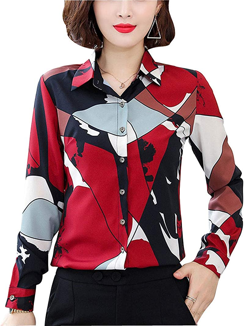 Women Collared Floral Printed Button Down Blouse Patterned Long Sleeve Shirt