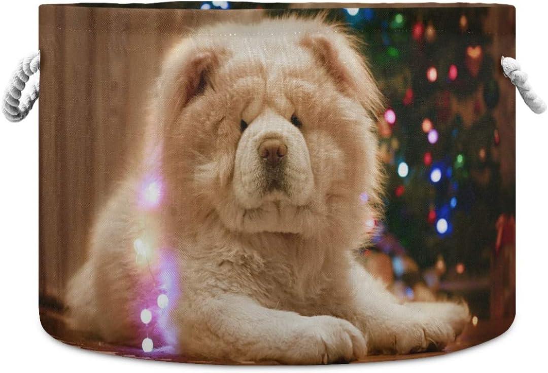 Hirsch AJINGA Faltbarer runder Aufbewahrungskorb aus Stoff f/ür Kinder Spielzeugtruhe f/ür Weihnachten W/äschekorb mit Kordelzug Kaninchen