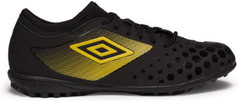 Umbro Juniors Youth Big Boys UX Accuro II Club Turf Soccer Shoes, Black/Golden Kiwi/White