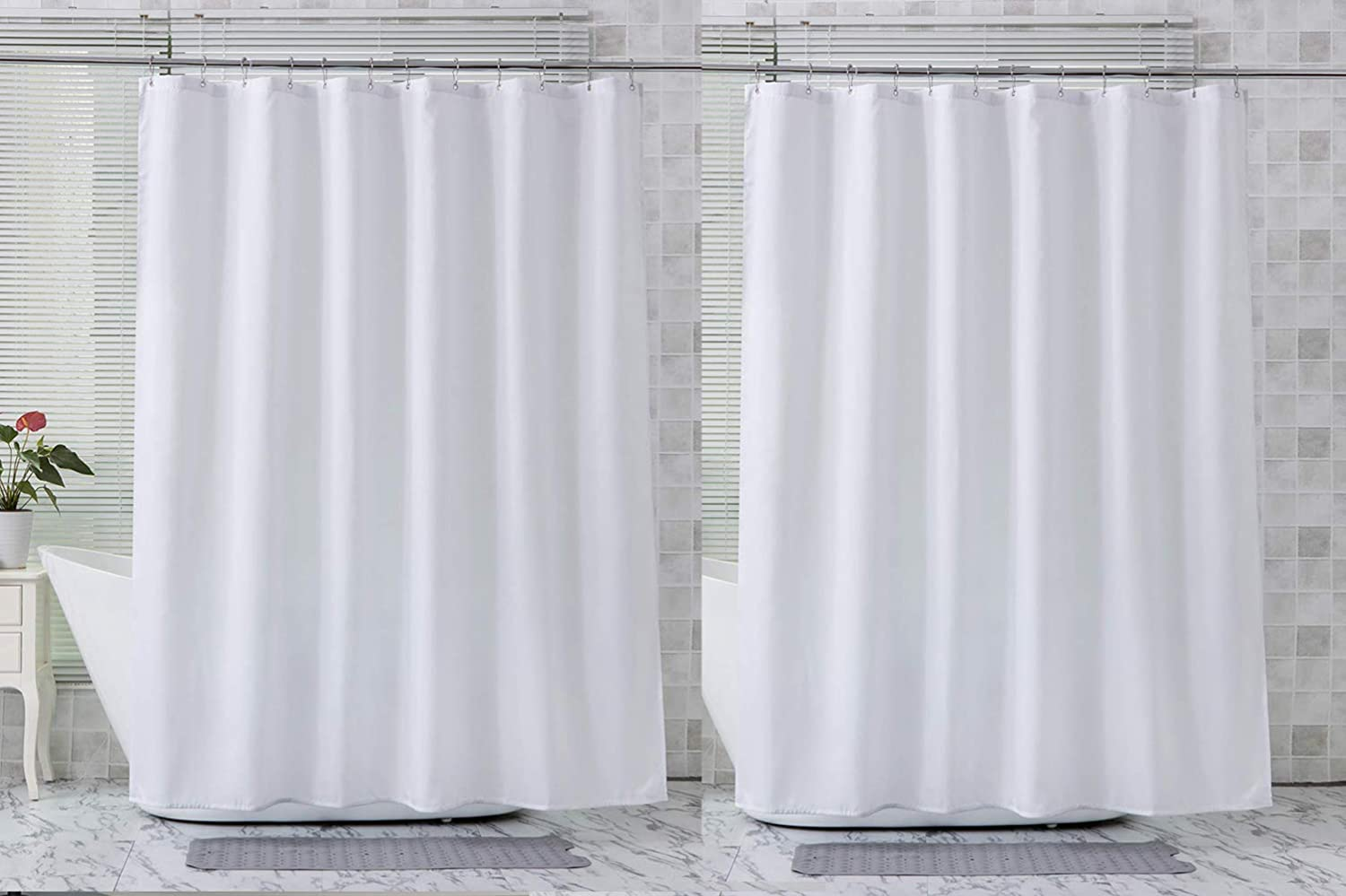 AmazerBath 2-Pack Fabric Shower Curtain, Water Repellent White Polyester Shower Curtains Shower Curtain Liner Bathroom Shower Curtains, 72 x 72 Inches