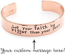 Personalized Copper Cuff Bracelet 1/2in Wide, Hand Stamped Quote Jewelry, Girlfriend, Wife, Graduation Gift