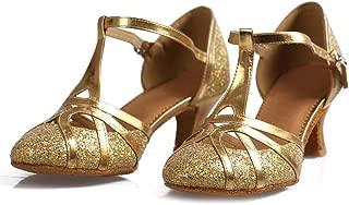 Lovedanshoes Golden Close Toe Latin Shoes T-Strap Dancing Shoes for Women