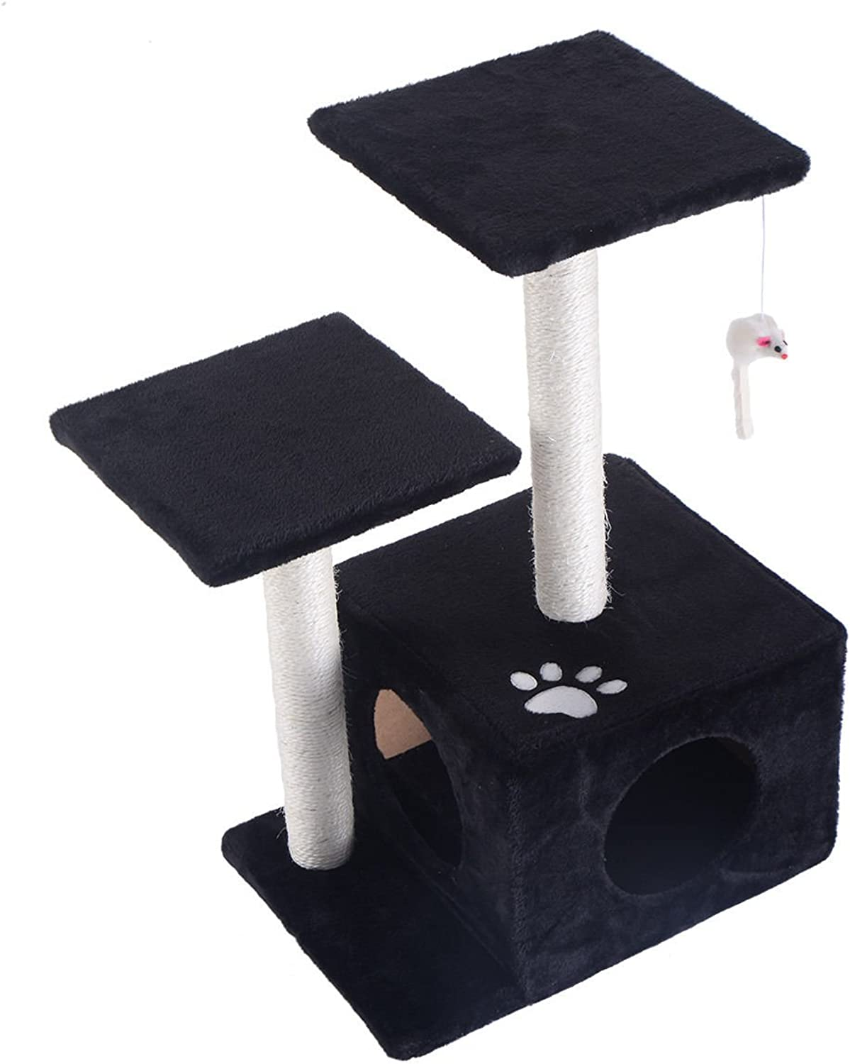 27  Cat Tree Deluxe Condo Furniture Play Toy Scratch Post Kitten Pet House Black