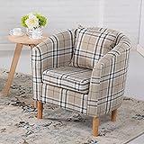 Edinburgh Tartan Fabric Tub Chair Armchair Dining Living Room Office Reception Cream