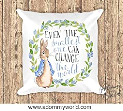 Penelope Rabbit Pillow, Rabbit Gifts, Rabbit Nursery, Beatrix Potter, Even The Smallest One Can Change The World, Pillow, Cushion B 633139