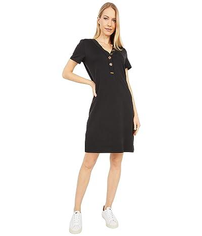 Calvin Klein T-Shirt Dress with Button Neck (Black) Women