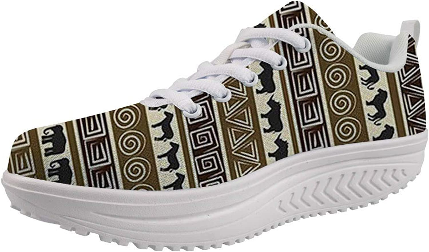 Youngerbaby Vintage African Swing Sneakers for Women Casual Wedge Walking shoes