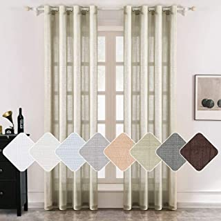MIULEE 2 Panels Natural Linen Semi Sheer Window Curtains Elegant Solid Brown Drapes Grommet Top Window Voile Panels Linen Textured Panels for Bedroom Living Room (52X90 Inch)