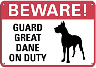 in the Ivy Beware! Guard Great Dane On Duty Pet Animal Sign Funny Metal Art Wall Sign Aluminum Sign Decor for Home Garage 8 x 12