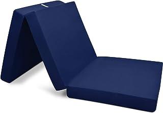Beautissu Colchón Plegable Campix 80 x 195 x 10 cm - Cómodo y Ahorra Espacio - con Funda de Microfibra - Azul Marino