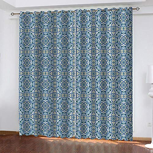 Bxooaceo Opaque Curtain, 3D Printing, Einfach Böhmisch, Eyelet Curtains, Heat Insulated Noise Reduction, Panels/Set, Suitable for Bedroom, Living Room 280 * 245 cm (Bxh) 2 Stück