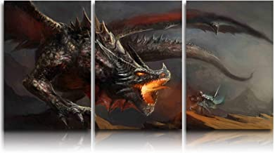 Arts Language 3 Pieces Canvas Print Wall Art for Office/Livingroom/Bedroom Middle Ages Dragon Warrior Stretched and Framed Modern Giclee Artwork Wall Decor 12x20inx3