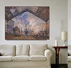 QianLei Estación de Saint-Lazare de Monet Carteles e impresión de Lienzo Pintura Caligrafía Cuadros de Pared para Sala de Estar Dormitorio Decoración para el hogar-60x48cm Sin Marco