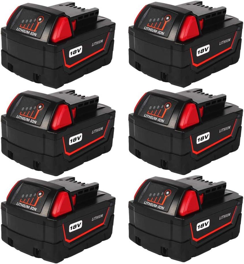 Masione 6Pack 18V 6.0Ah Batteries Milwaukee 奉呈 for 国内在庫 Replace Batt