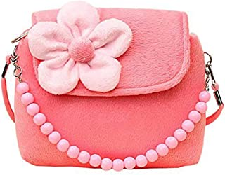Cute Little Girls Fashionable 3D Flower Handbag Crossbody Bag Zipper Purse (Pink)