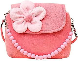 Cute Little Girls Fashionable 3D Flower Handbag Crossbody Bag Zipper Purse (Pink)
