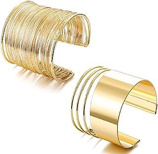 2 قطعة الكفة سوار مجموعة للنساء مفتوحة واسعة أسلاك أساور قابل للتعديل الذهب الفضة لهجة مطلي