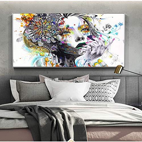 SLQUIET Chica Arte de la Lona Pintura Mariposa Chica Impresión de Arte de Pared Chica con Flores Cartel Imagen Abstracta para Sala de Estar Pintura Sin Marco 40x60cm