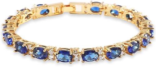 GULICX Rose Gold Plated Clear CZ Stone Cubic Zirconia Women Tennis Bracelet