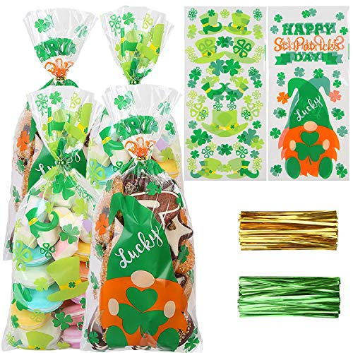 DERAYEE St. Patrick Day Cellophane Treat Bags, 160Pcs Clear Candy Goody Gift Bags with Twist Ties Lucky Shamrock Leprechaun Hat